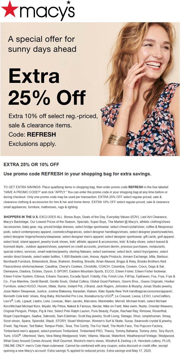 Macys stores Coupon  Extra 25% off at Macys via promo code REFRESH #macys