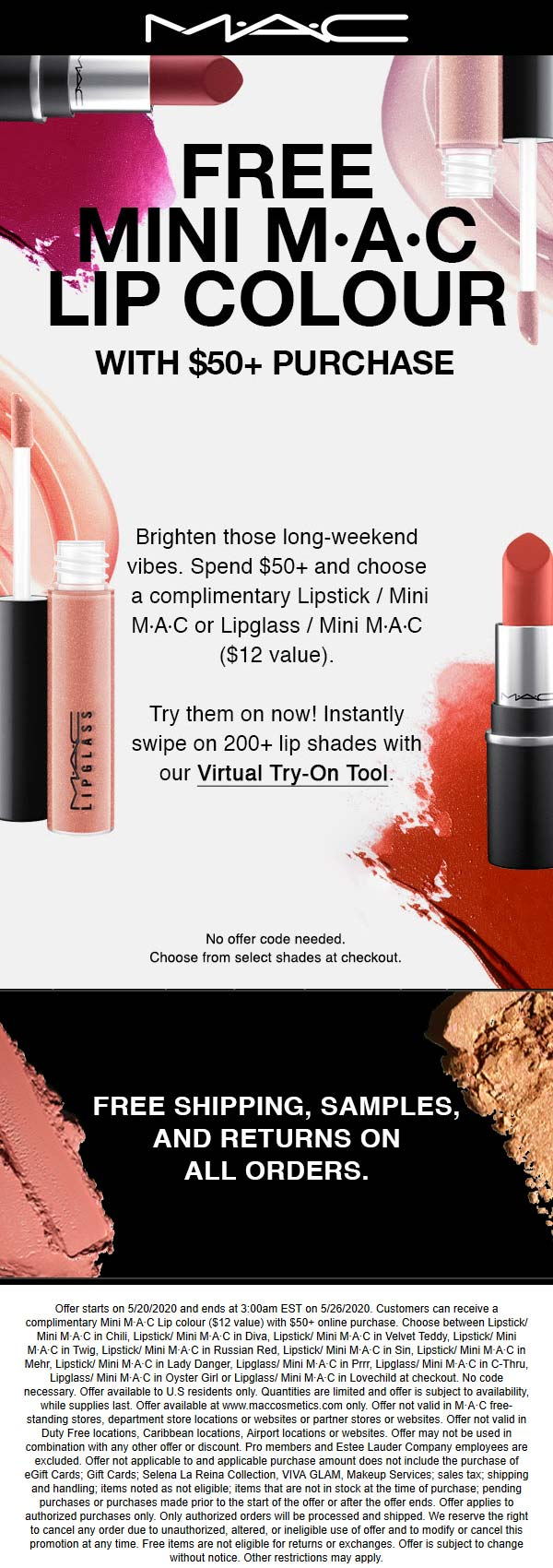 MAC coupons & promo code for [August 2020]