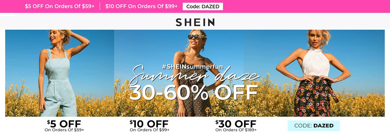 Shein coupons & promo code for [July 2020]