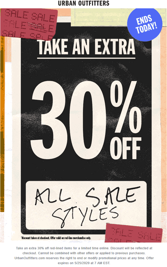 Extra 30% off sale items today at Urban Outfitters #urbanoutfitters