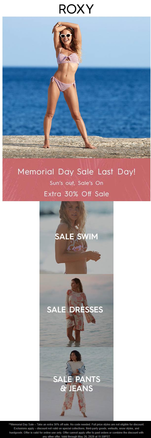 Extra 30% off sale items today at ROXY #roxy