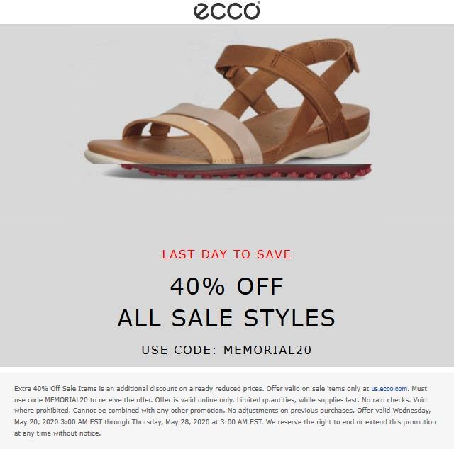 Extra 40% off sale items today at ECCO via promo code MEMORIAL20 #ecco