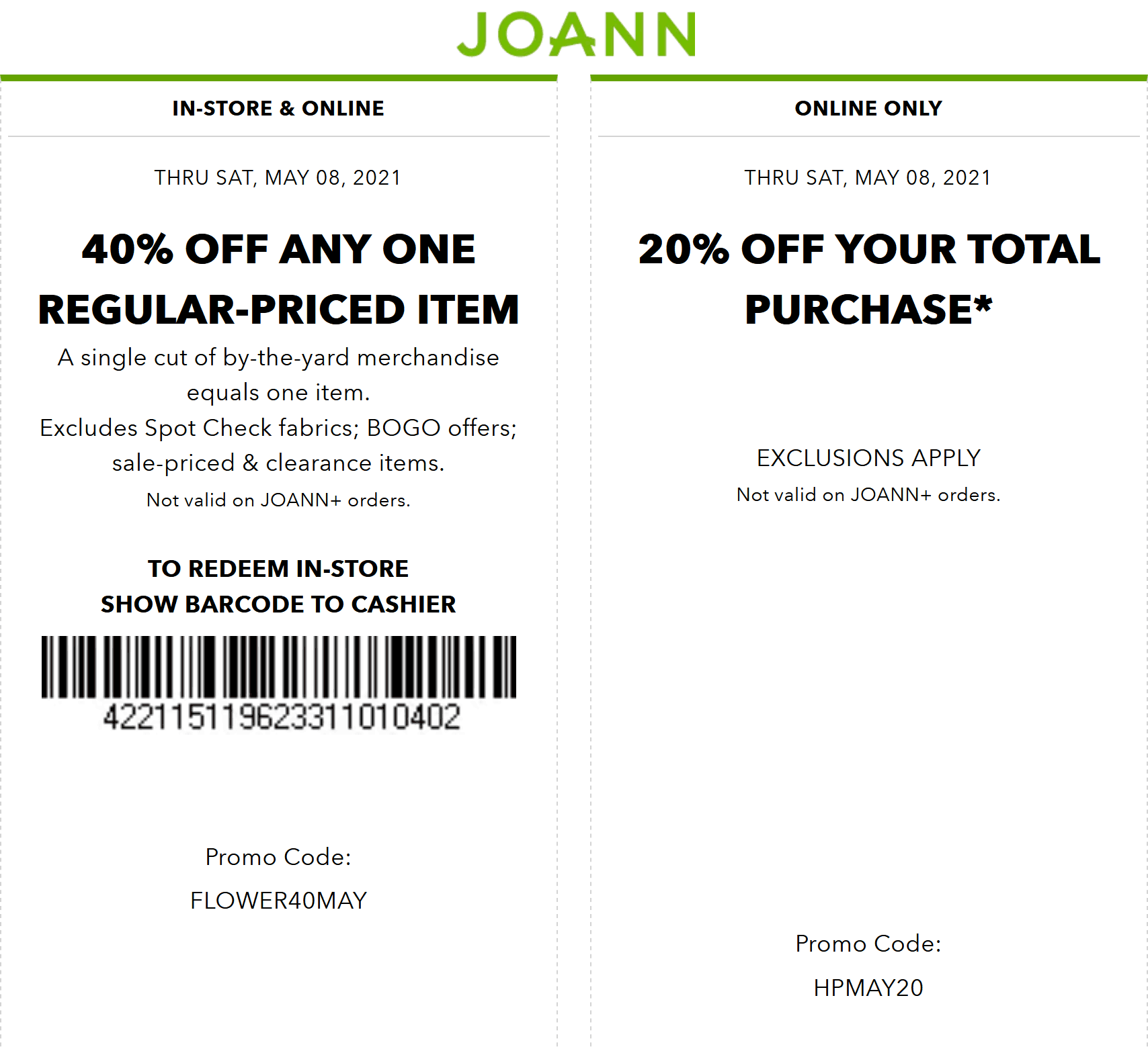 Joann coupons & promo code for [June 2021]
