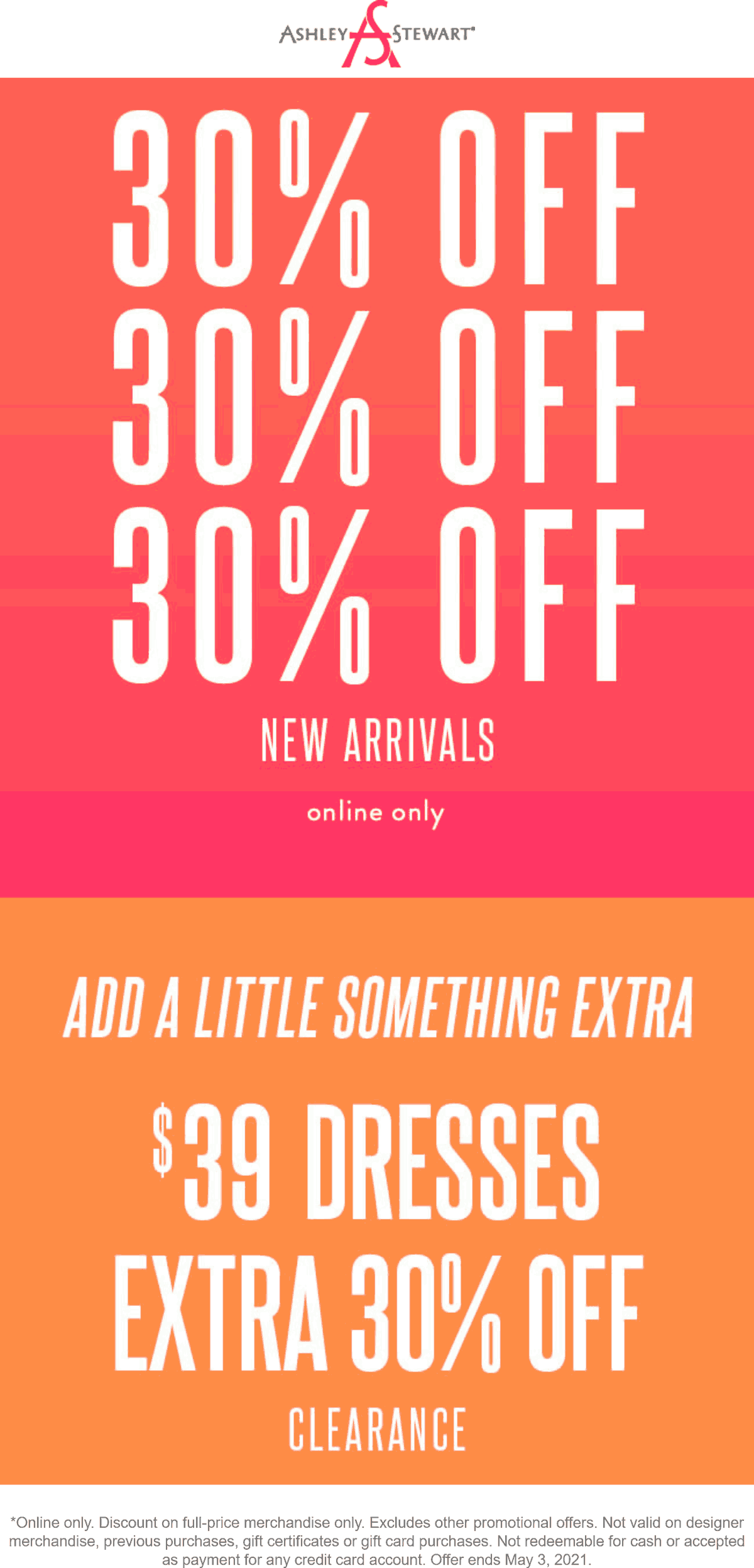 Ashley Stewart stores Coupon  30% off new arrivals & clearance today online at Ashley Stewart #ashleystewart