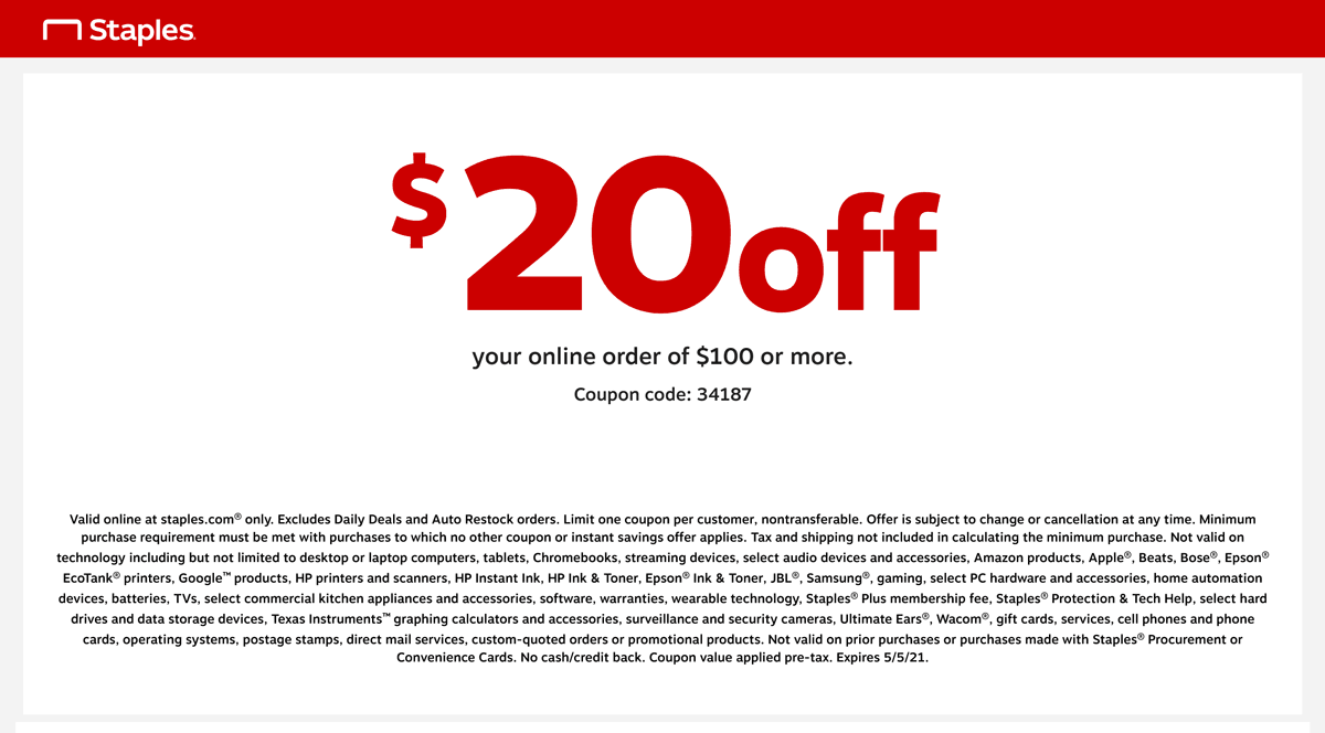 Staples coupons & promo code for [May 2021]