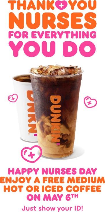 Dunkin Donuts restaurants Coupon  Nurses enjoy free coffee Thursday at Dunkin Donuts #dunkindonuts