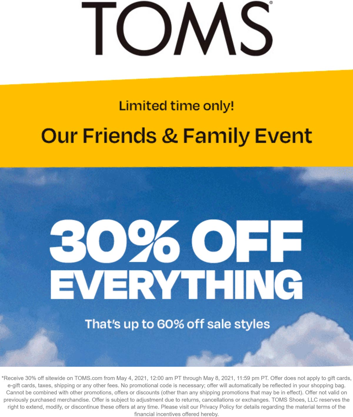 Toms coupons & promo code for [June 2021]
