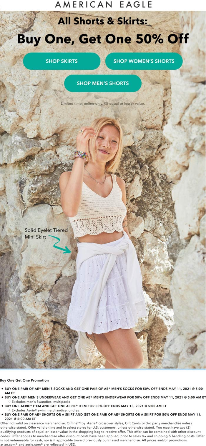 American Eagle stores Coupon  Second shorts or skirt 50% off at American Eagle #americaneagle
