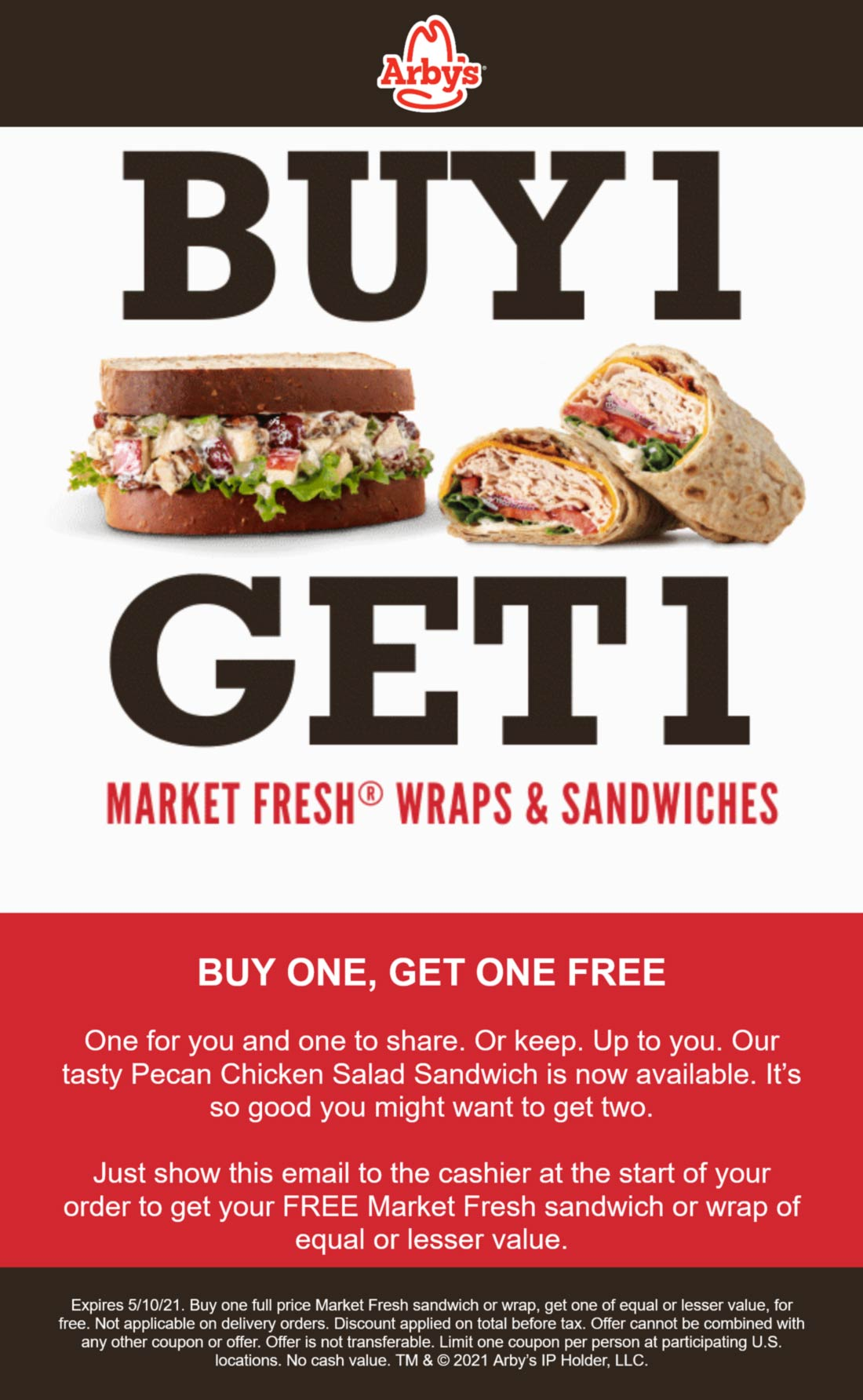 Arbys restaurants Coupon  Second market fresh sandwich or wrap free at Arbys #arbys