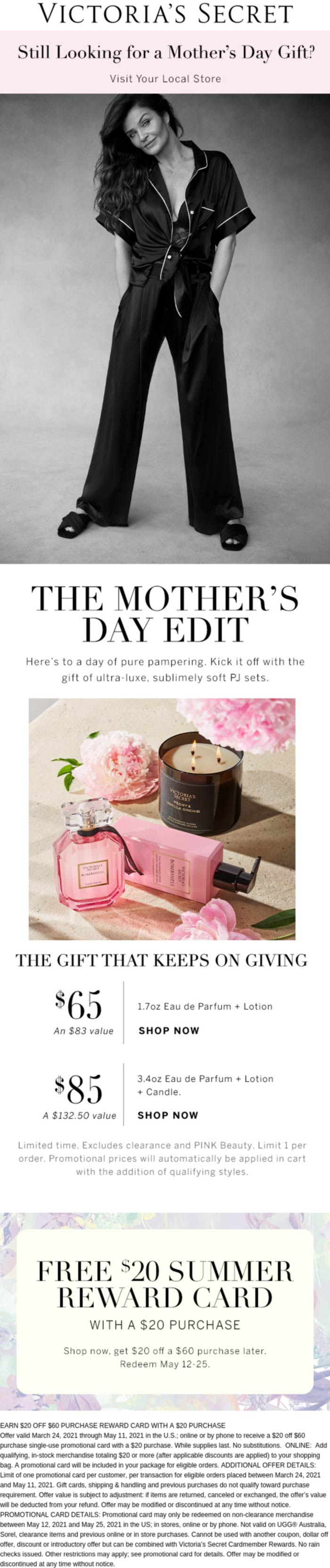 Victorias Secret stores Coupon  $20 card free with $20 spent at Victorias Secret #victoriassecret