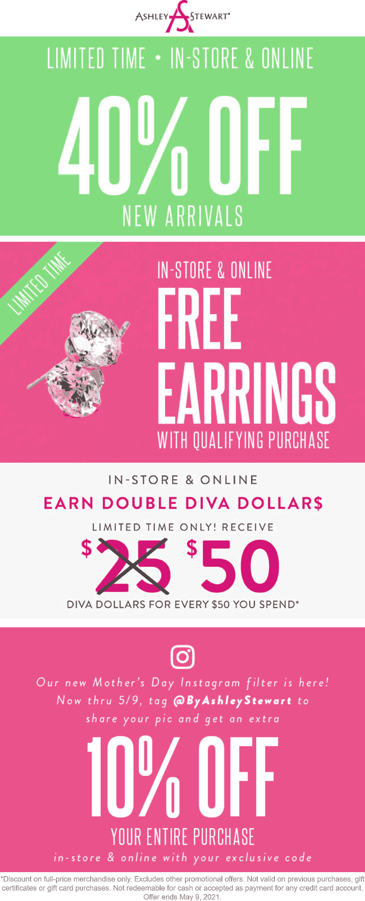 Ashley Stewart stores Coupon  40% off new arrivals + free earrings today at Ashley Stewart #ashleystewart