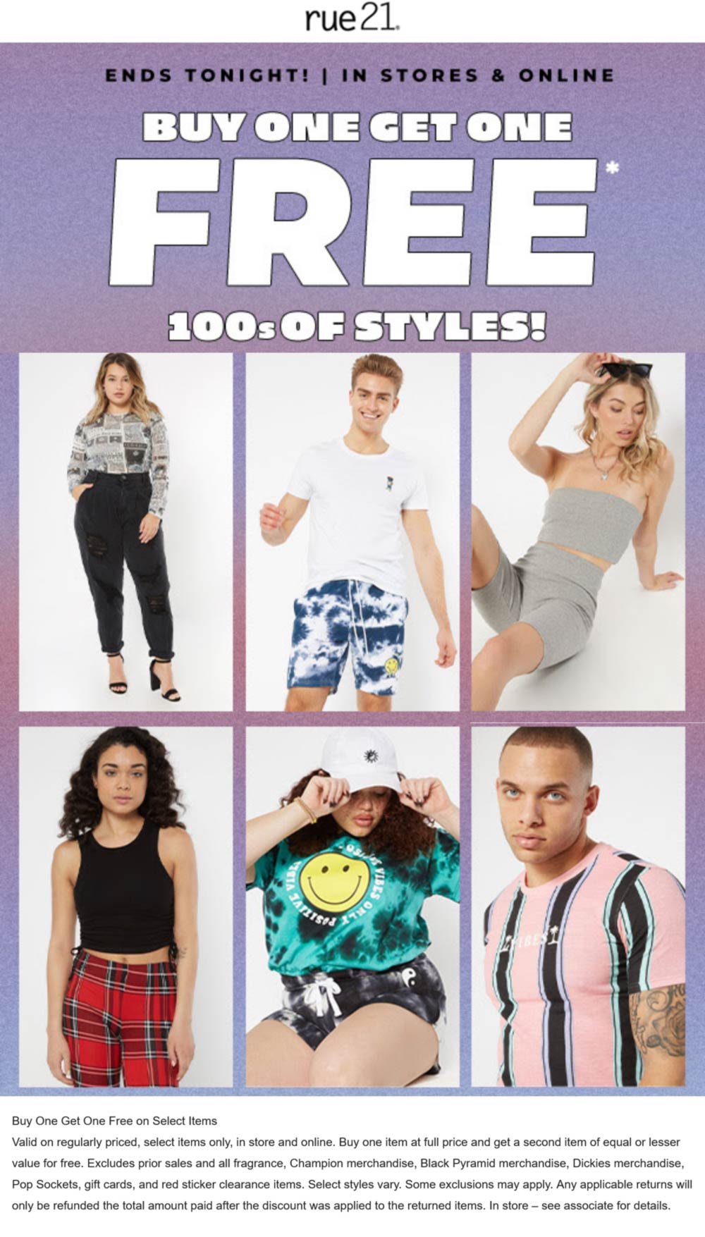 rue21 stores Coupon  Second item free today at rue21, ditto online #rue21