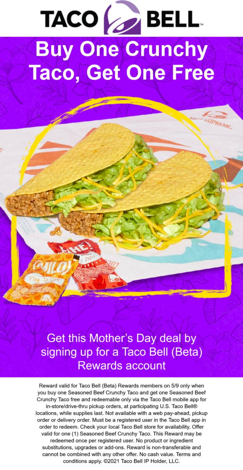 Taco Bell restaurants Coupon  Second taco free for rewards members today at Taco Bell #tacobell