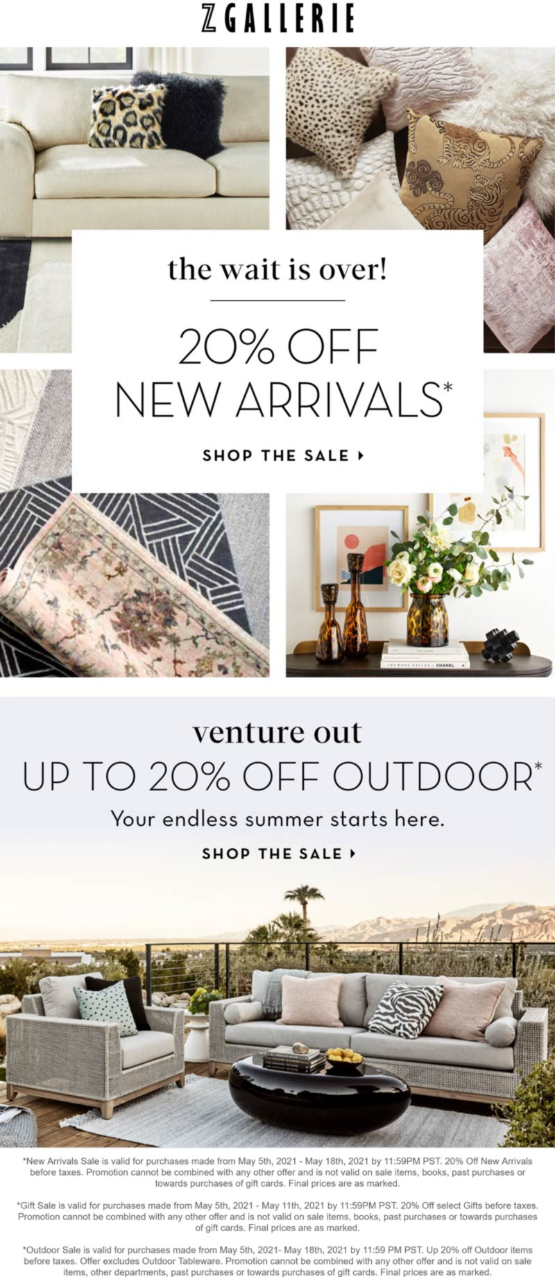 Z Gallerie stores Coupon  20% off new furniture arrivals at Z Gallerie #zgallerie