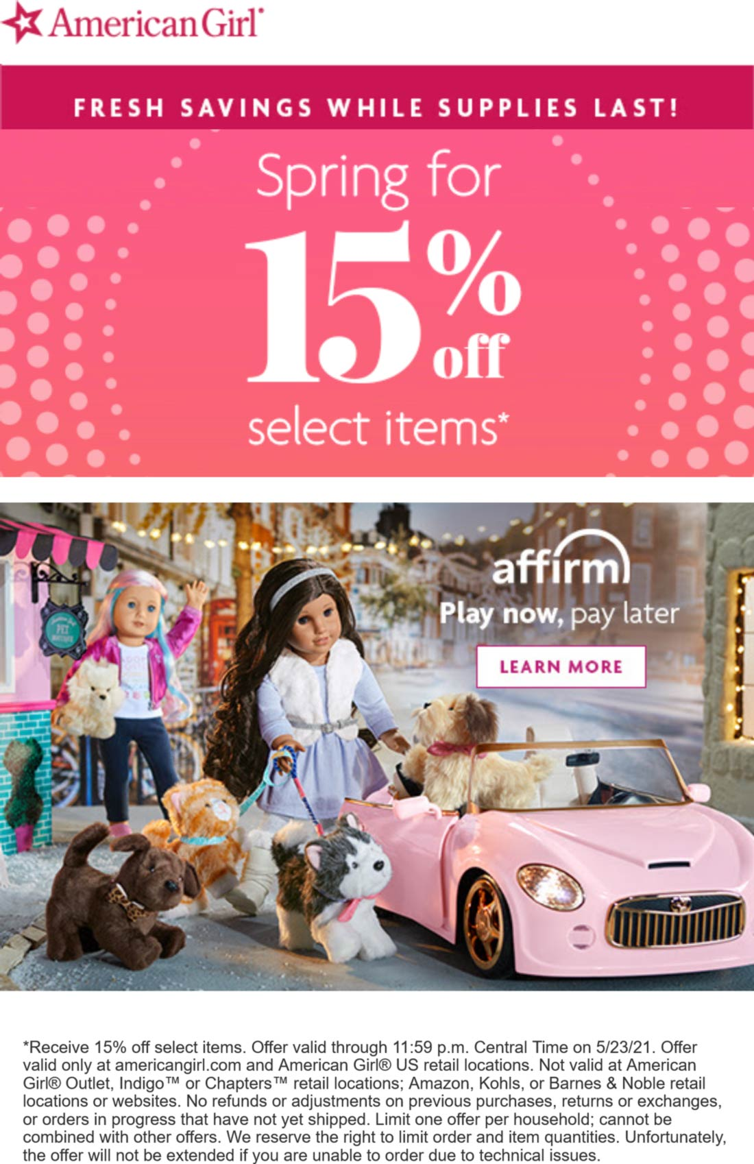American Girl stores Coupon  15% off at American Girl doll store, ditto online #americangirl