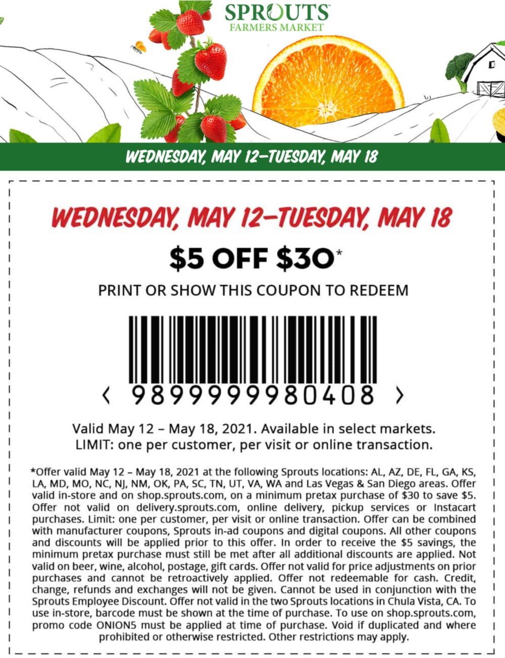 Sprouts stores Coupon  $5 off $30 at Sprouts Farmers Market grocery, or online via promo code ONION5 #sprouts