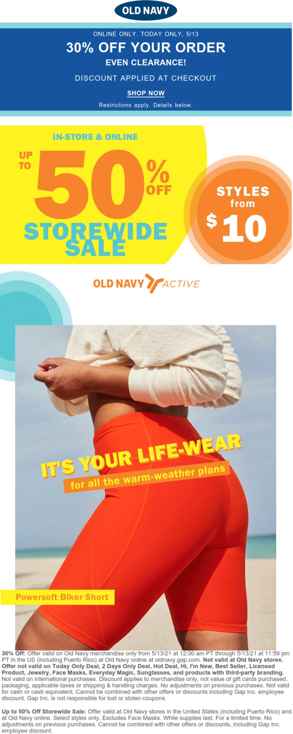 Old Navy stores Coupon  30% off & more online today at Old Navy #oldnavy