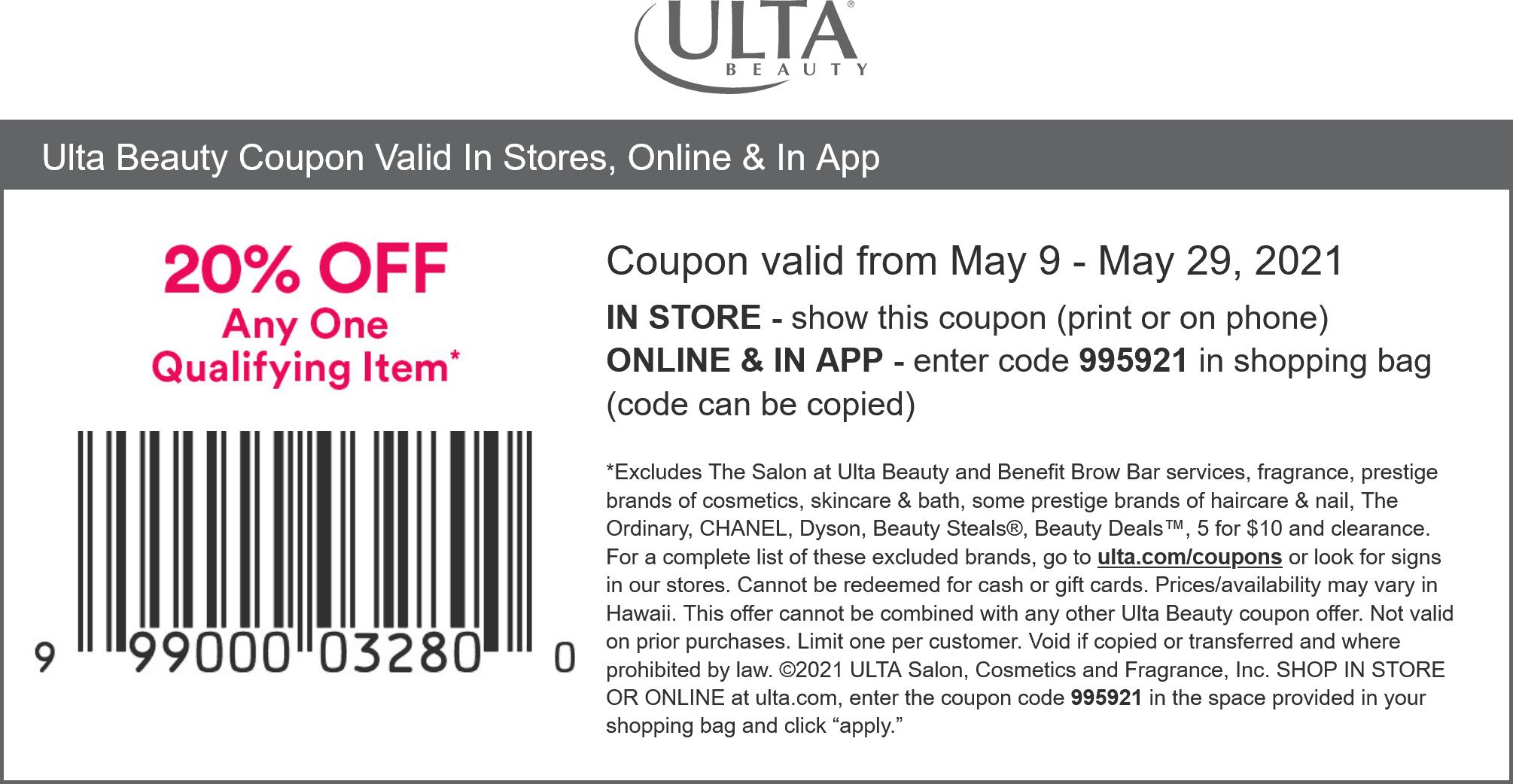 Ulta stores Coupon  20% off an item at Ulta Beauty, or online via promo code 995921 #ulta