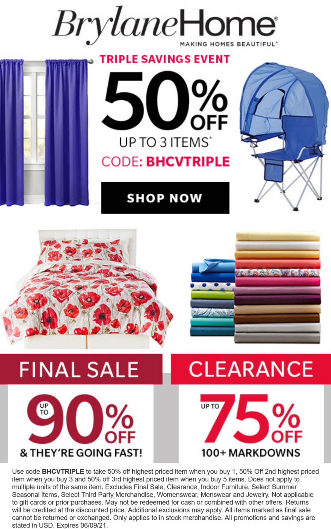 Brylane Home stores Coupon  50% off 1-3 items at Brylane Home via promo code BHCVTRIPLE #brylanehome