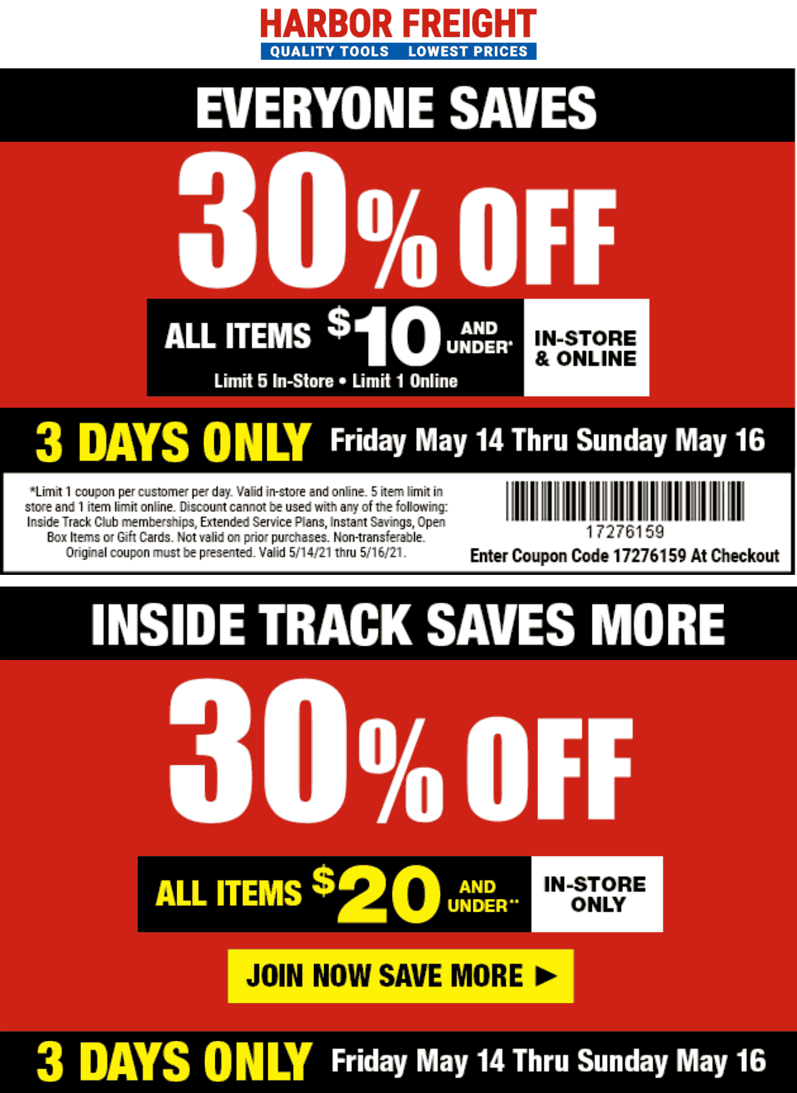 Harbor Freight stores Coupon  30% off at Harbor Freight Tools, or online via promo code 1726159 #harborfreight