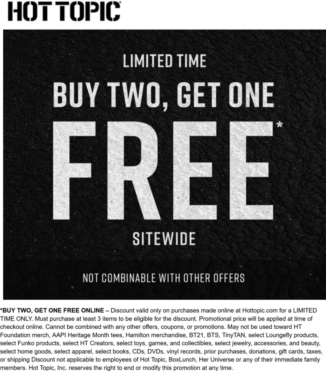 Hot Topic stores Coupon  3rd item free sitewide at Hot Topic #hottopic