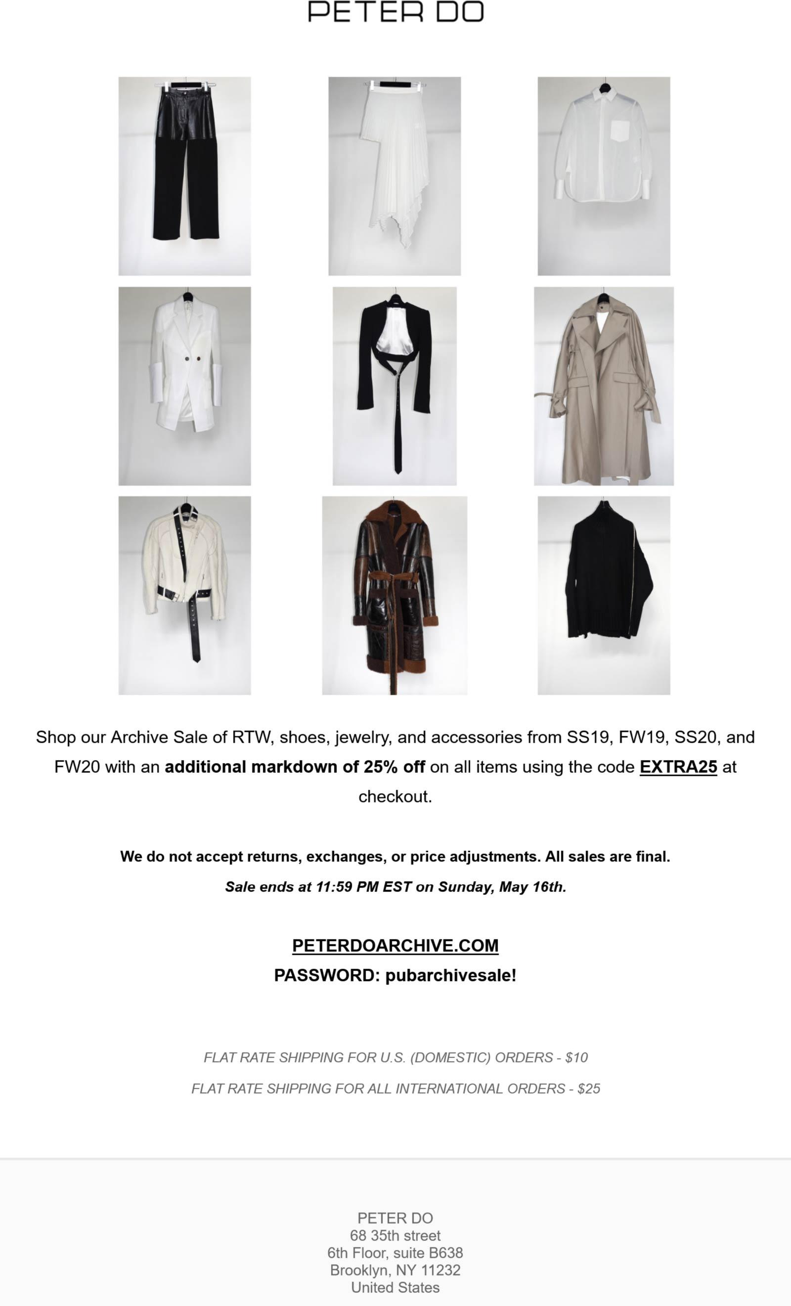 Peter Do stores Coupon  Extra 25% off sale items at Peter Do via promo code EXTRA25 #peterdo