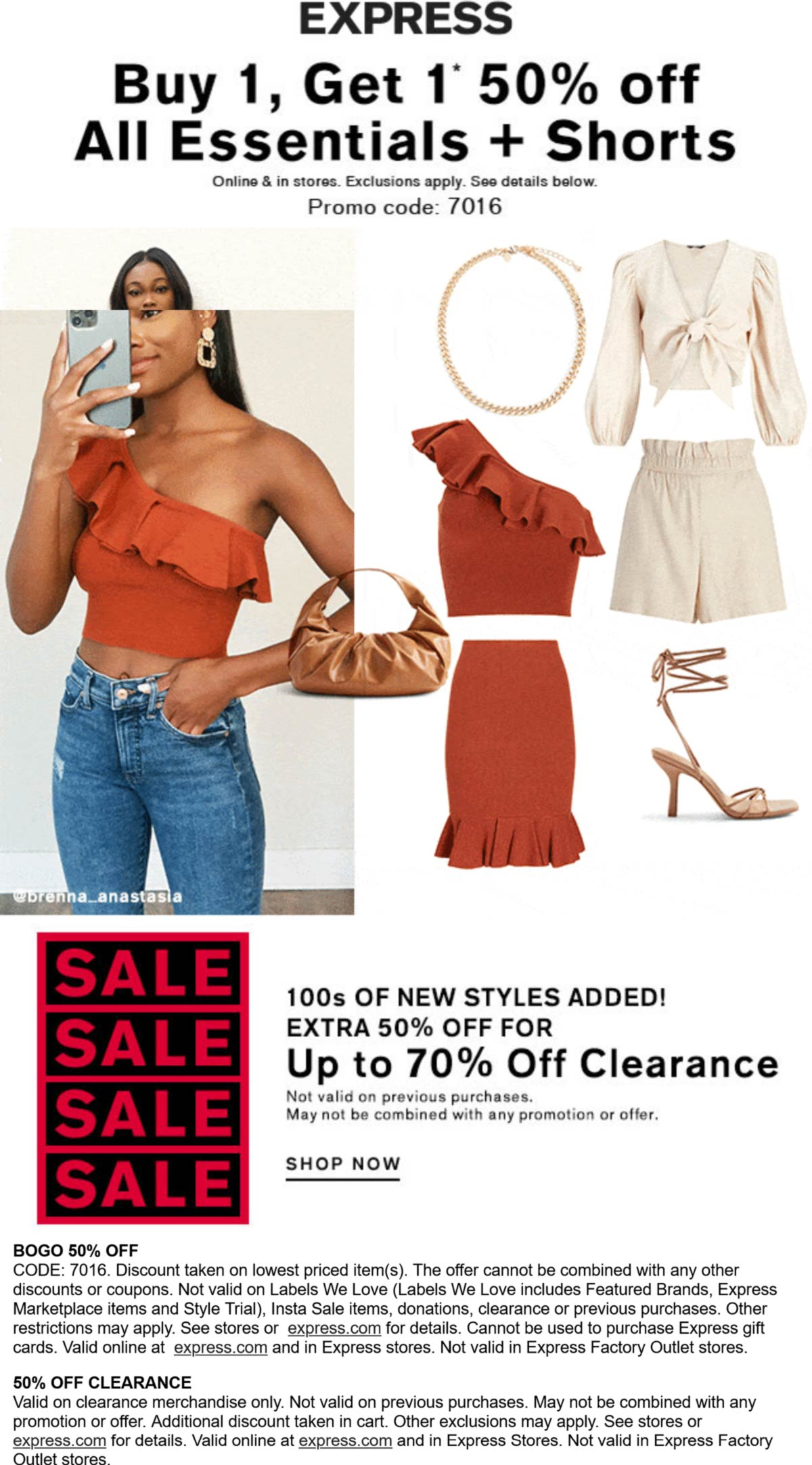 Express stores Coupon  Second item 50% off at Express, or online via promo code 7016 #express