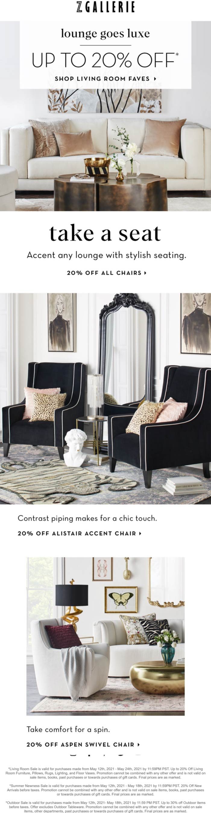 Z Gallerie stores Coupon  20% off all chairs at Z Gallerie furniture #zgallerie