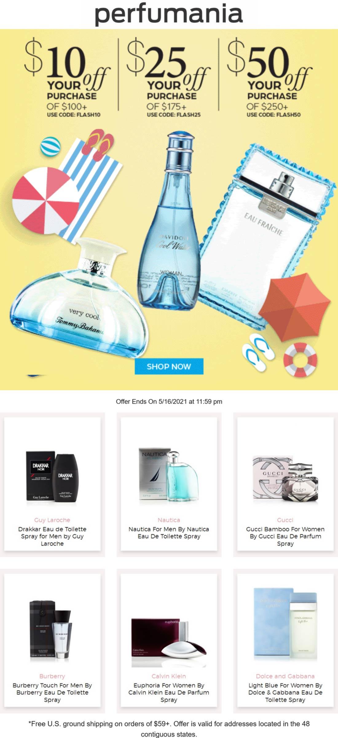 Perfumania stores Coupon  Fragrances are $10-$50 off $100+ today online at Perfumania via promo code FLASH10 #perfumania