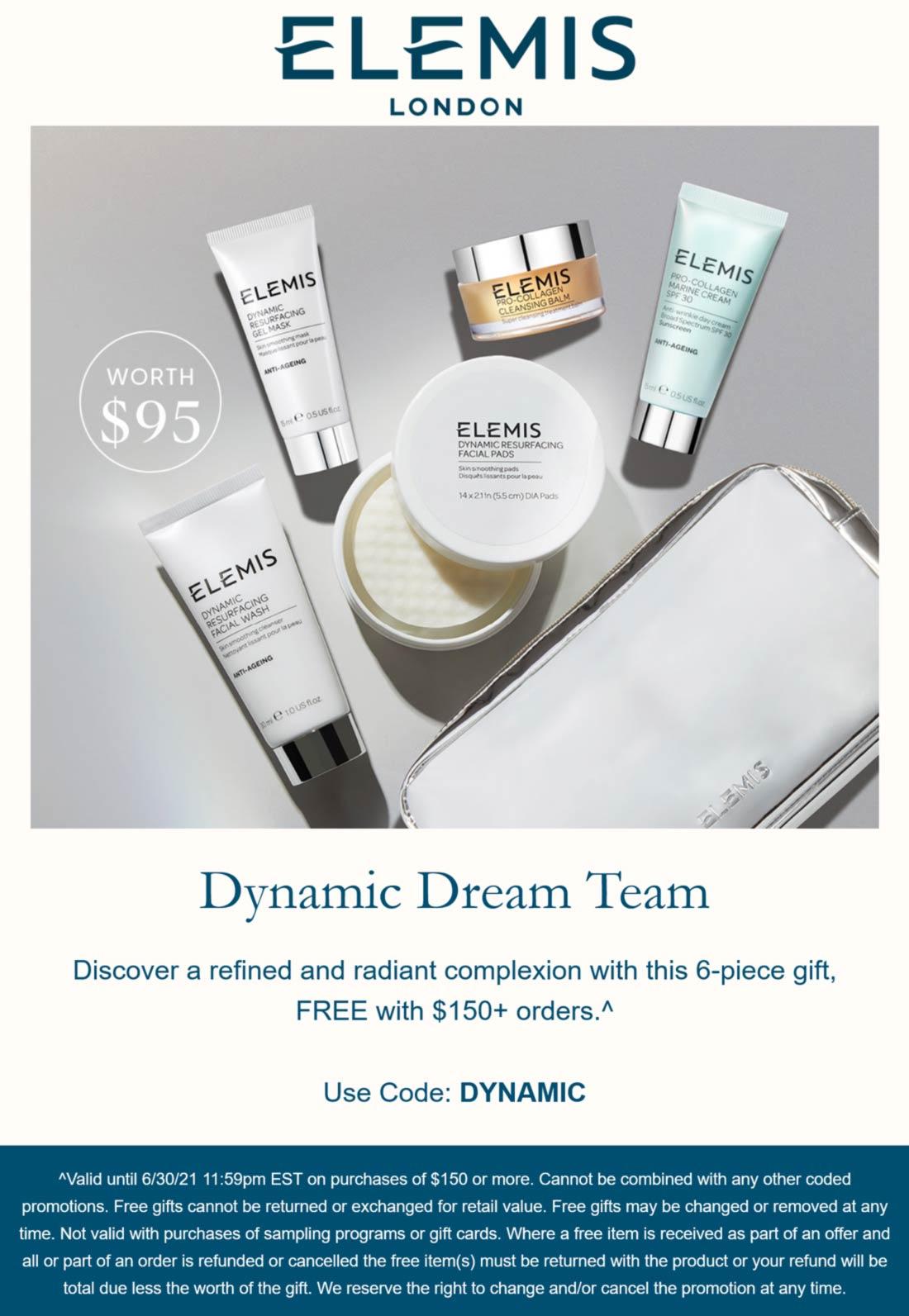 Elemis stores Coupon  Free 6pc $95 set with $150 spent at Elemis via promo code DYNAMIC #elemis