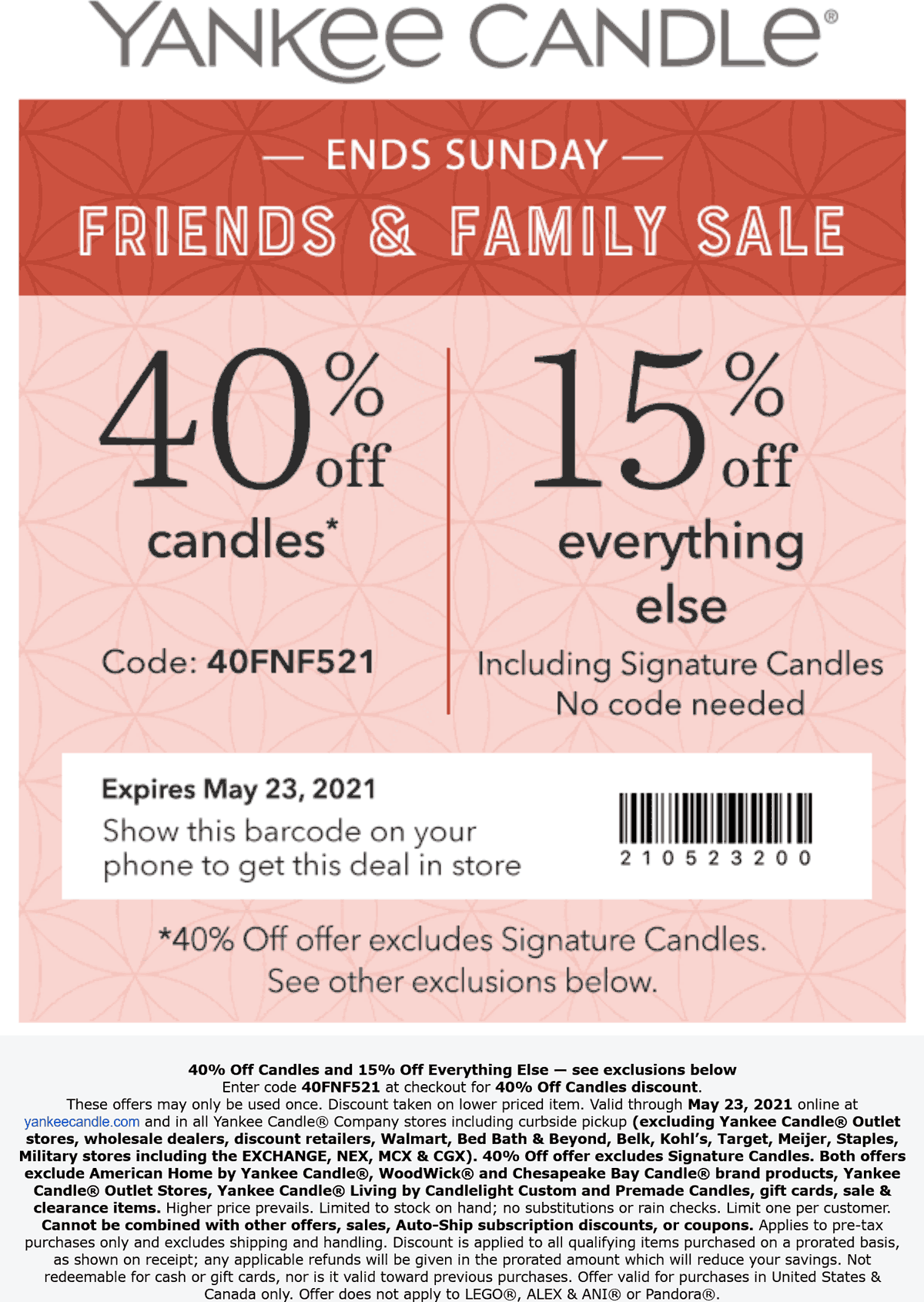 Yankee Candle stores Coupon  40% off at Yankee Candle, or online via promo code 40FNF521 #yankeecandle