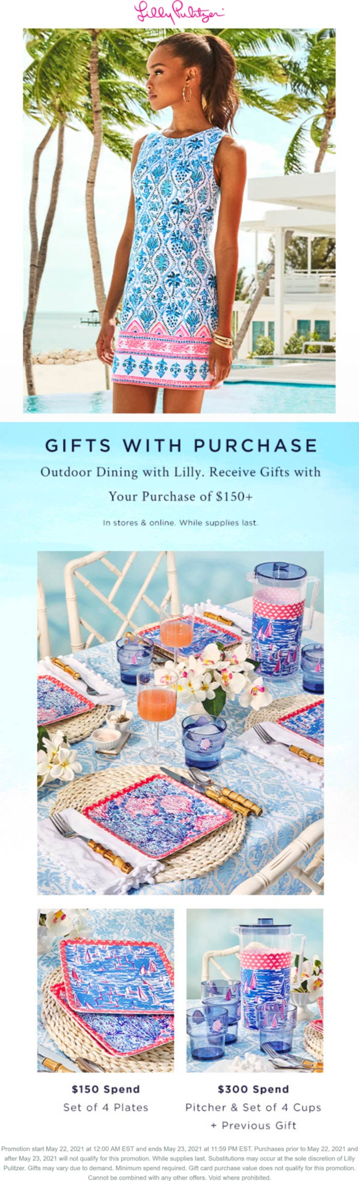 Lilly Pulitzer restaurants Coupon  Outdoor dining sets free with $150+ spent at Lilly Pulitzer, ditto online #lillypulitzer