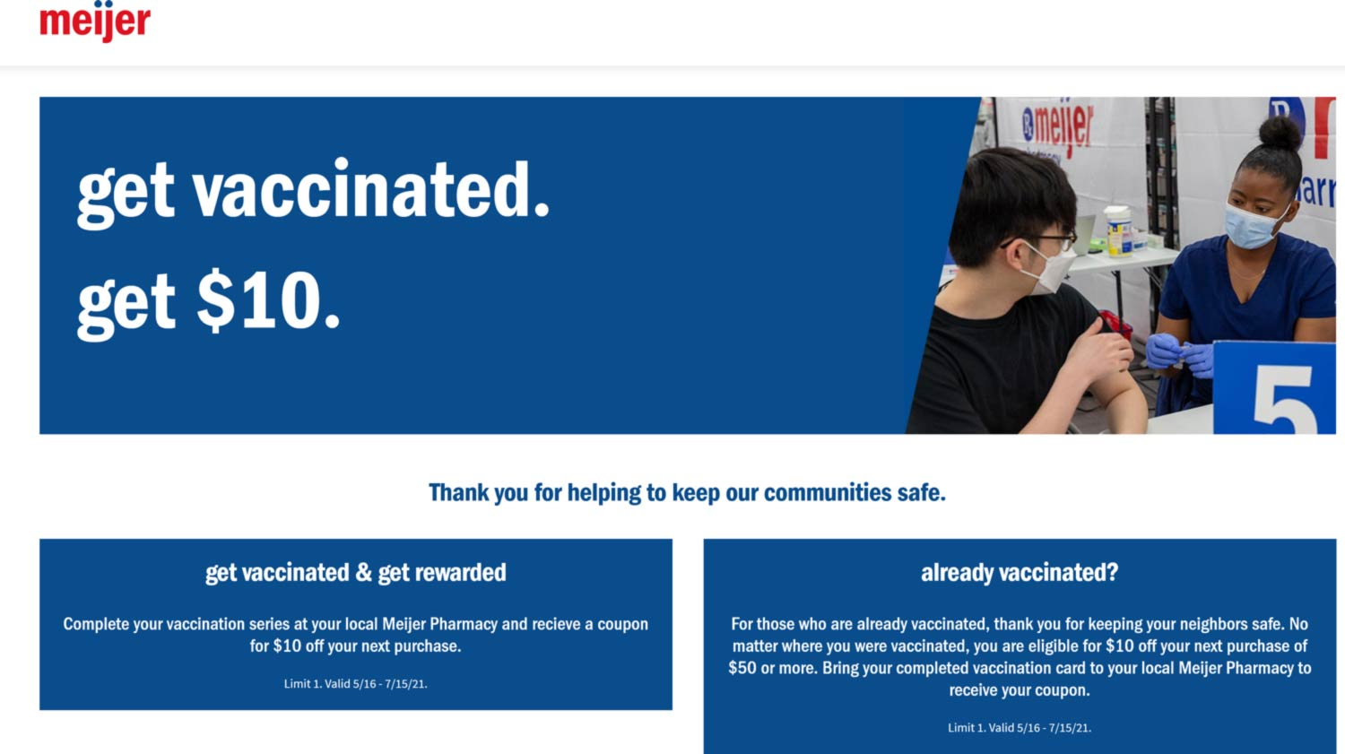 Meijer stores Coupon  $10 off $50 with vaccine card at Meijer #meijer