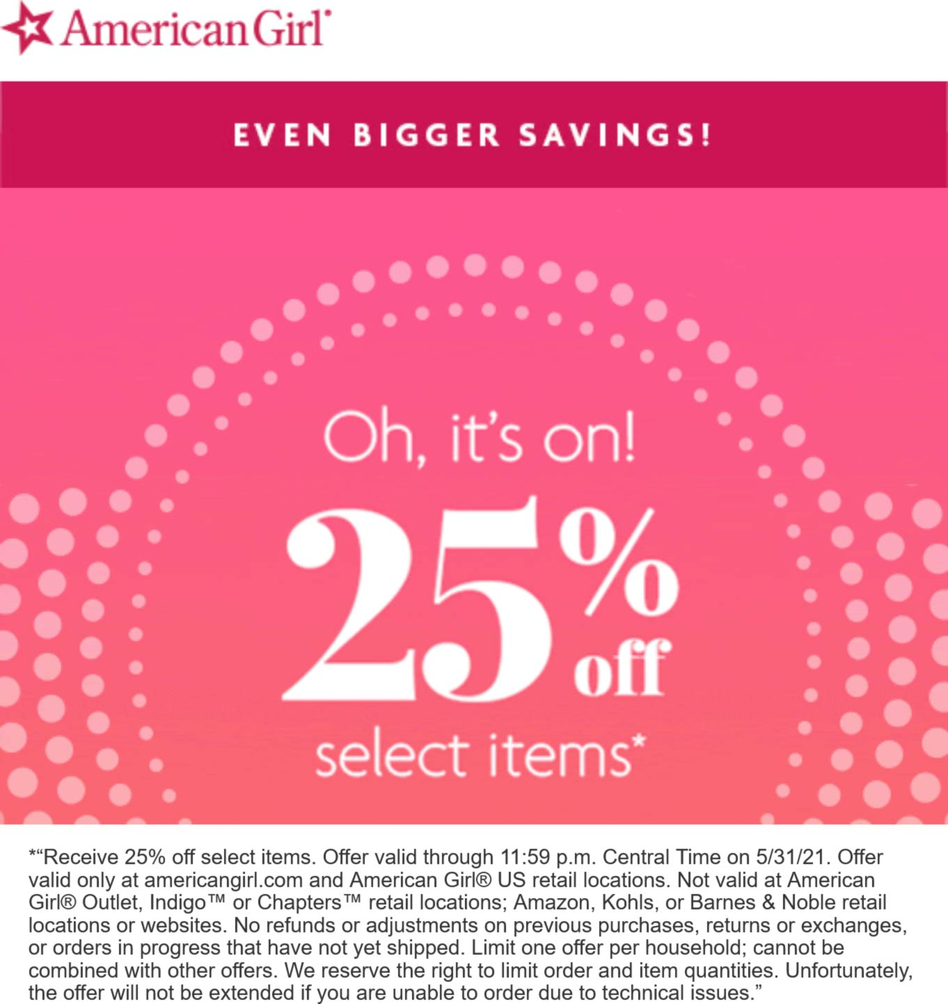 American Girl stores Coupon  25% off various at American Girl, ditto online #americangirl