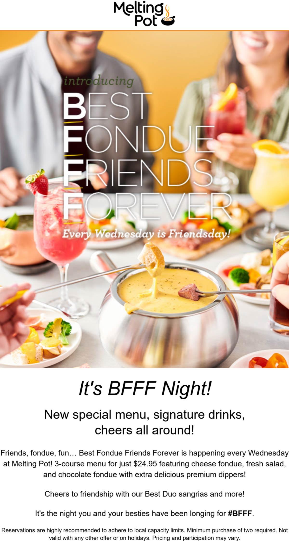 Melting Pot restaurants Coupon  3-course fondue & salad menu for $25 Wednesdays at Melting Pot restaurants #meltingpot