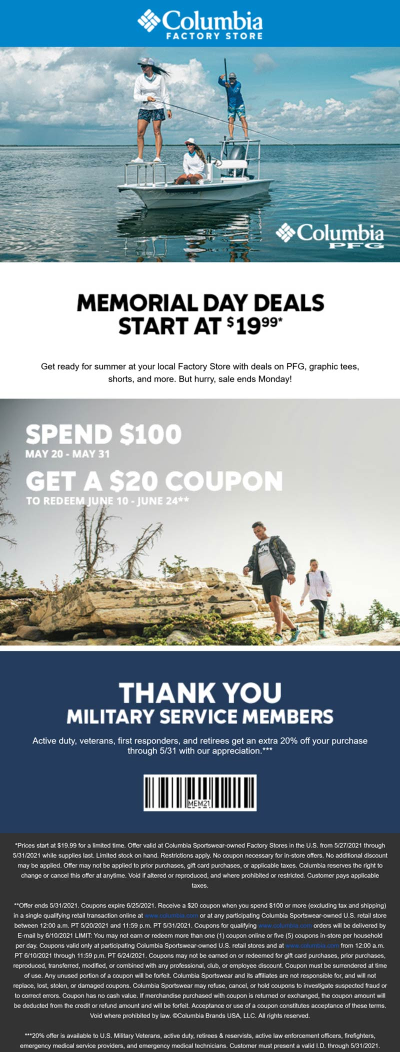Columbia Factory Store stores Coupon  Heroes enjoy 20% off at Columbia Factory Store #columbiafactorystore