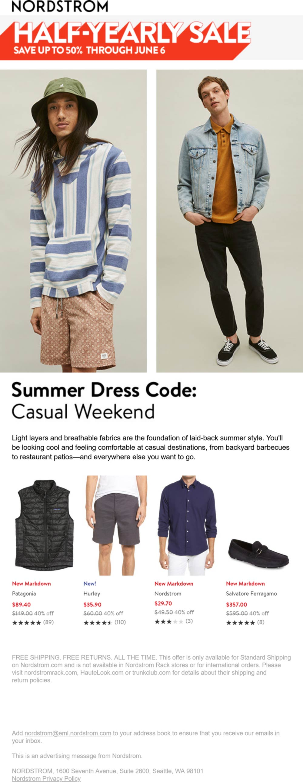 Nordstrom stores Coupon  Bi-annual 50% off sale going on at Nordstrom, also online #nordstrom