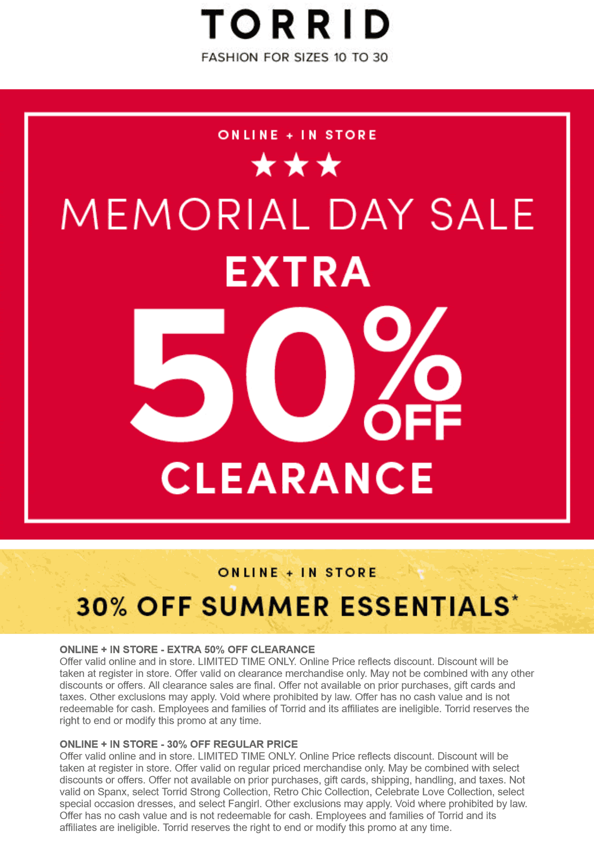 Torrid stores Coupon  Extra 50% off clearance & 30% off Summer at Torrid, ditto online #torrid