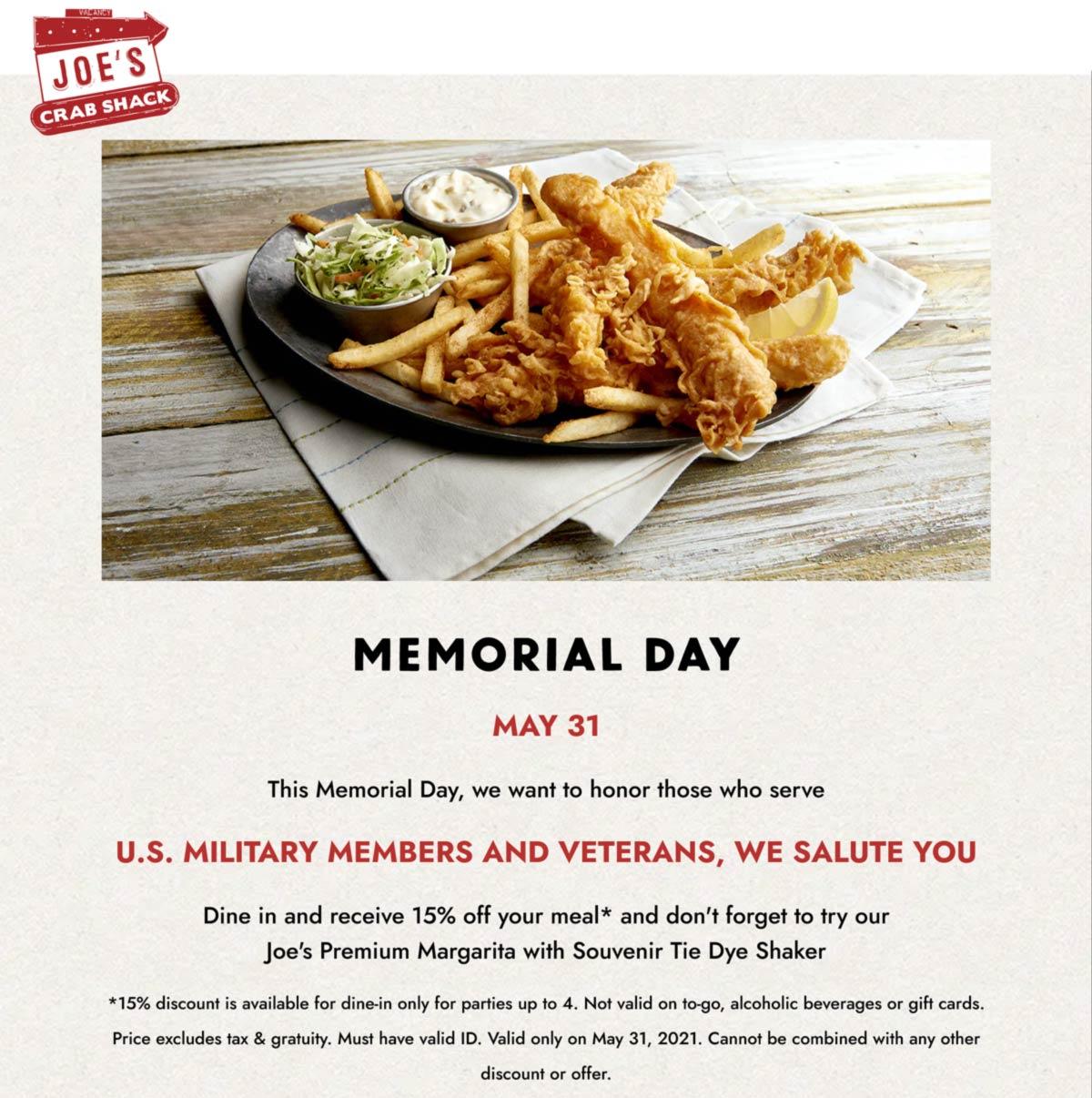 Joes Crab Shack restaurants Coupon  Military & veterans enjoy 15% off Monday at Joes Crab Shack restaurants #joescrabshack