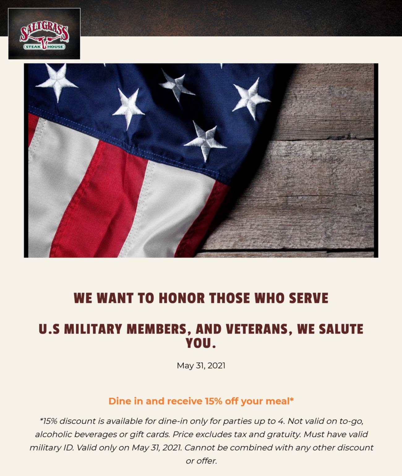 Saltgrass Steakhouse restaurants Coupon  Military score 15% off their table Monday at Saltgrass Steakhouse restaurants #saltgrasssteakhouse
