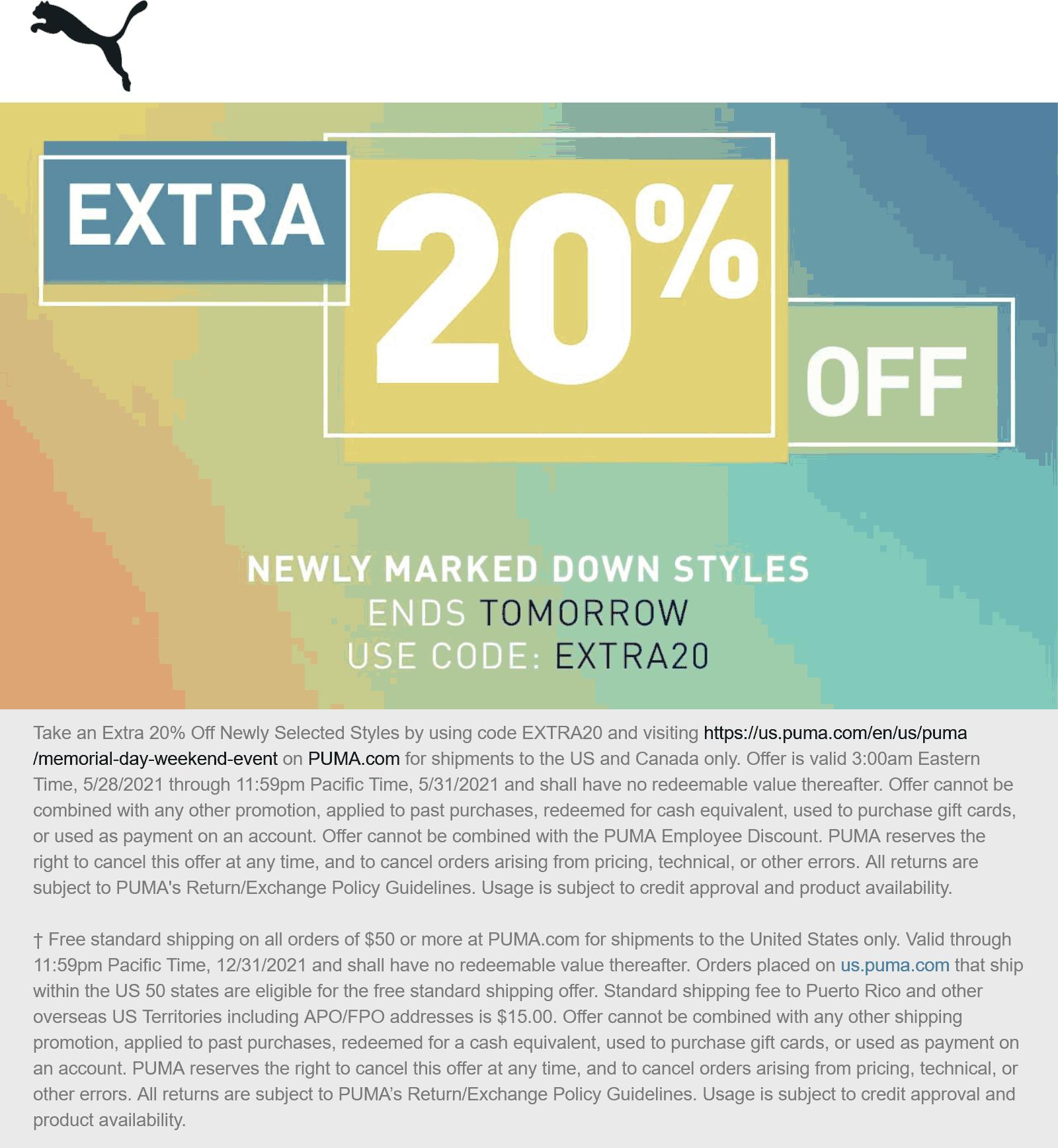 PUMA stores Coupon  Extra 20% off at PUMA via promo code EXTRA20 #puma