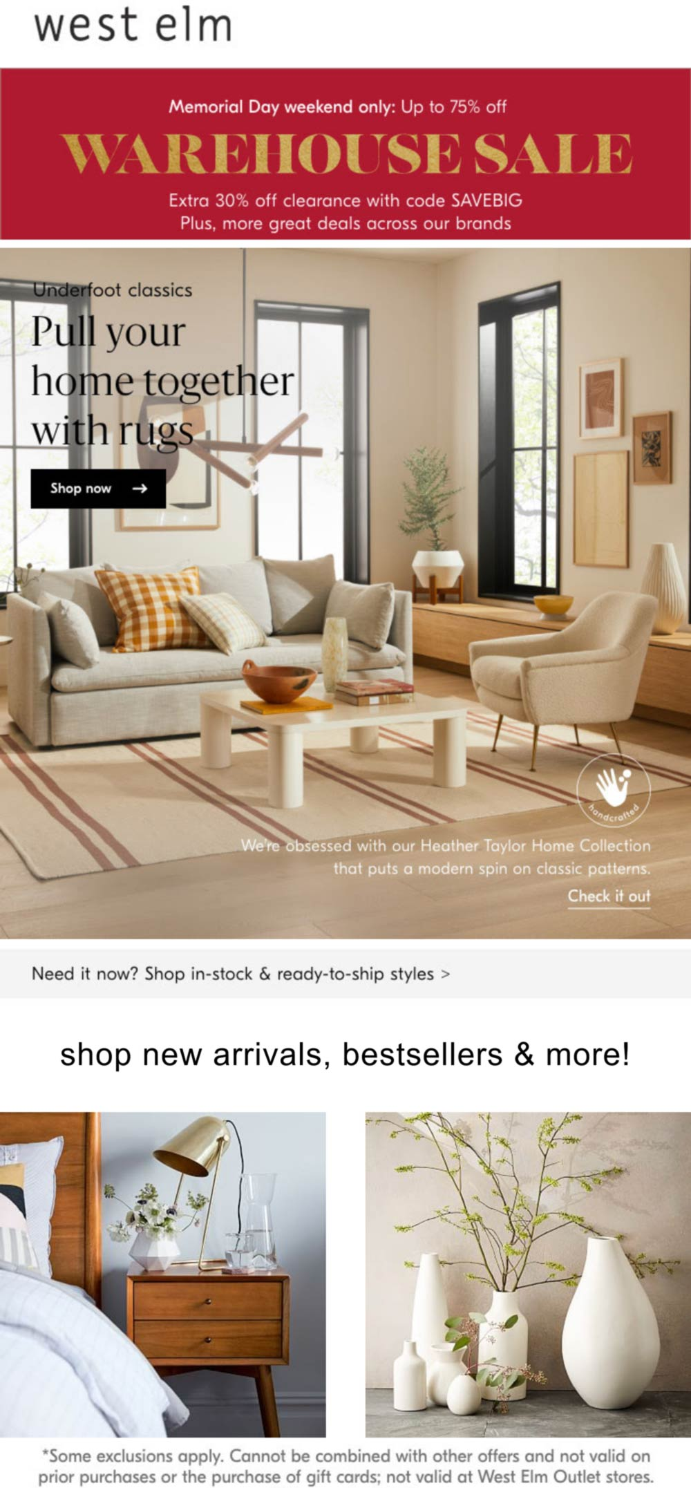 West Elm stores Coupon  Extra 30% off clearance today at West Elm furniture via promo code SAVEBIG #westelm