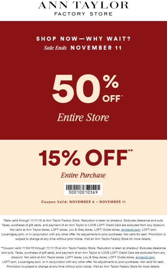 ann taylor factory outlet coupon