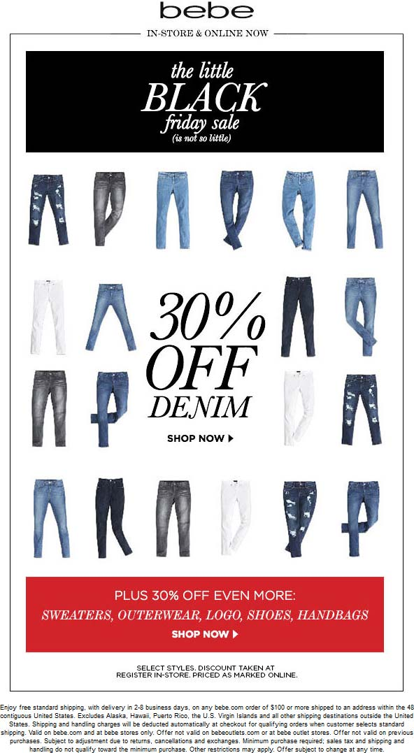 Bebe Coupon July 2020 30% off denim, outwerwear, shoes & handbags at bebe, ditto online