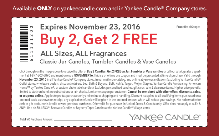 Current Yankee Candle Coupons