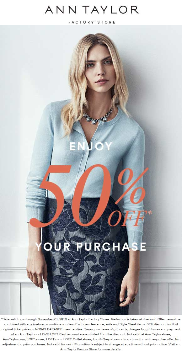 Printable coupons ann taylor factory store