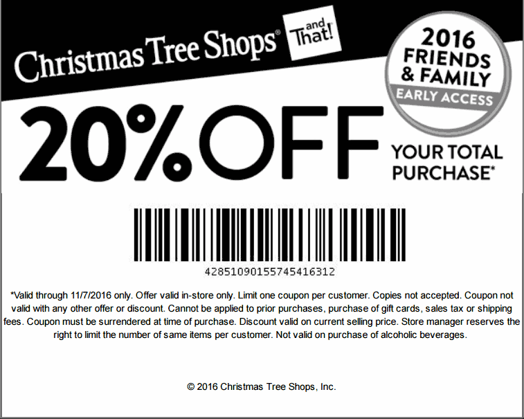 Christmas Tree Shops coupons - 20% off today at