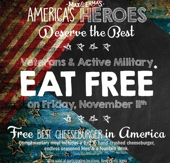 Max & Ermas Coupon February 2020 Veterans & active enjoy a free cheeseburger meal Friday at Max & Ermas