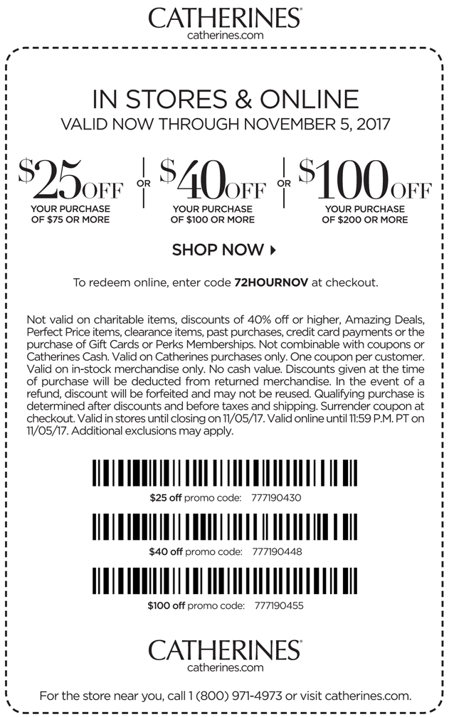 Catherines coupons october 2019