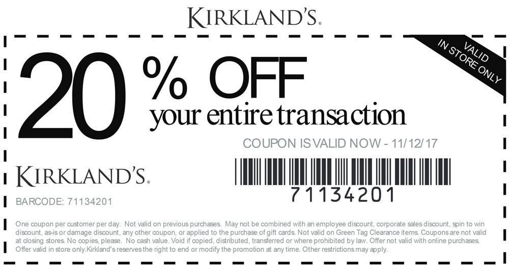 kirklands printable coupon 2019
